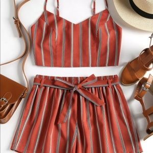 ZAFUL Striped Cami Belted Shorts Set-Chestnut Red